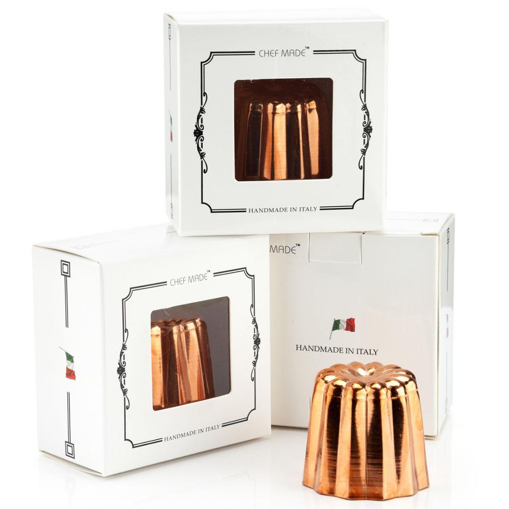 Moule en Canele de cuivre bon marché, tasse de Muffin de Cannele de 2 pouces, intérieur étamé approuvé par la FDA fabriqué en italie 4 pièces