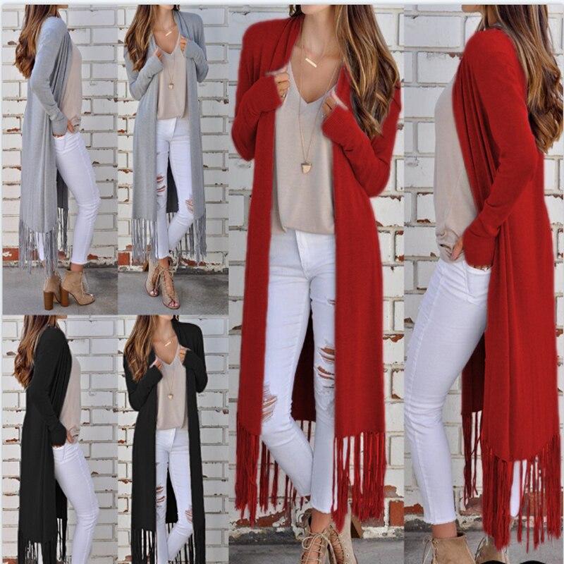 Hot Cardigan Women Autumn 2019 New Thin Kimono Long Casual Outerwear Cardigans Coat Gray Red Black Coat Female Tassel Blend Coat