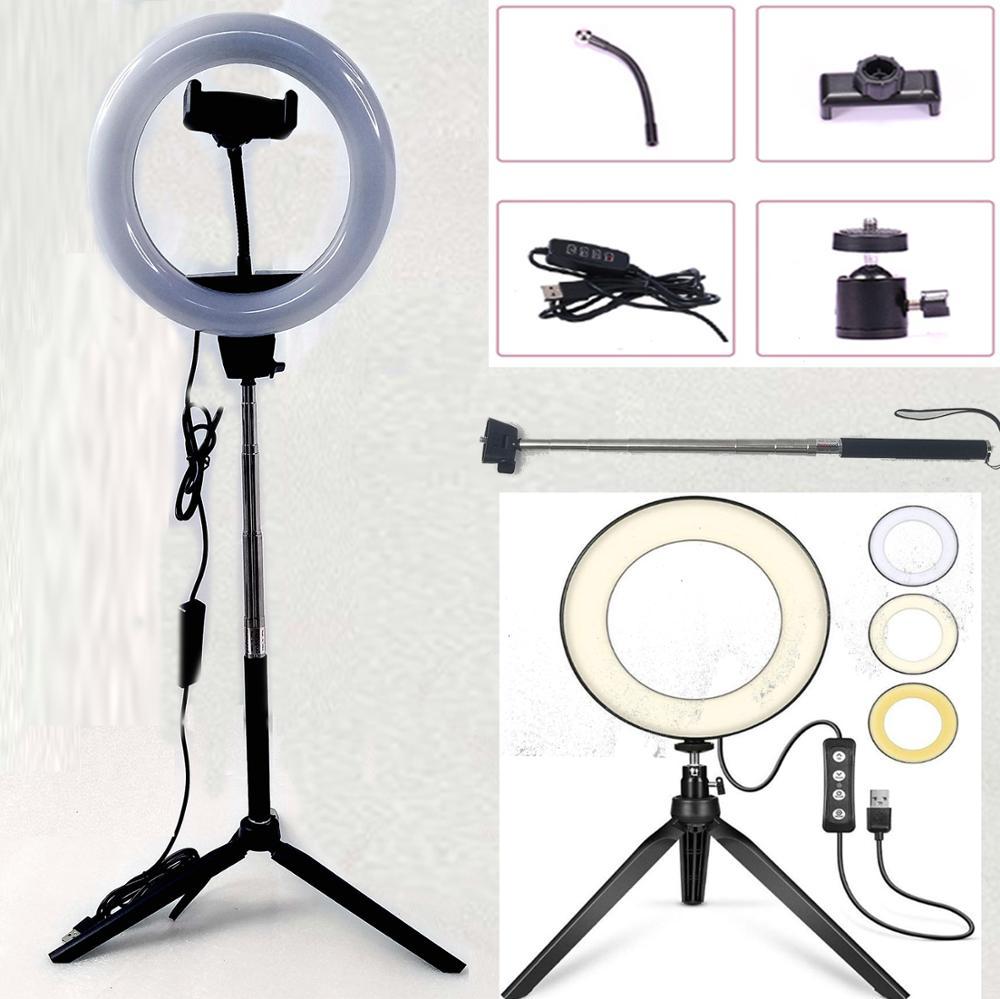 写真撮影調光対応 LED Selfie リングライト Youtube のビデオライブ 2700-5500 5500k フォトスタジオライトと電話ホルダー USB プラグ三脚