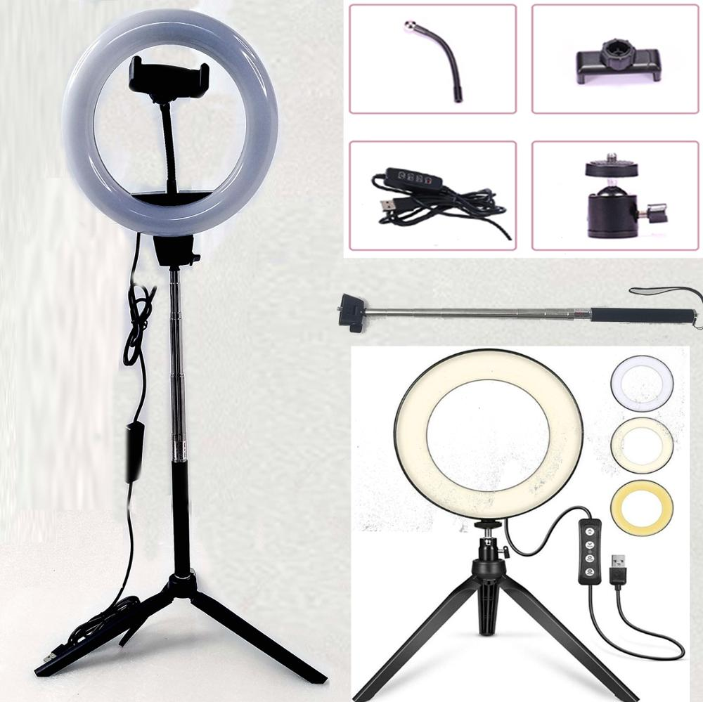Photography Dimmable LED Selfie Ring Light Youtube Video Live 2700-5500k Photo Studio Light With Phone Holder USB Plug Tripod