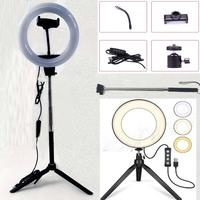 Photography Dimmable LED Selfie Ring Light Youtube Video Live 2700 5500k Photo Studio Light With Phone Holder USB Plug Tripod