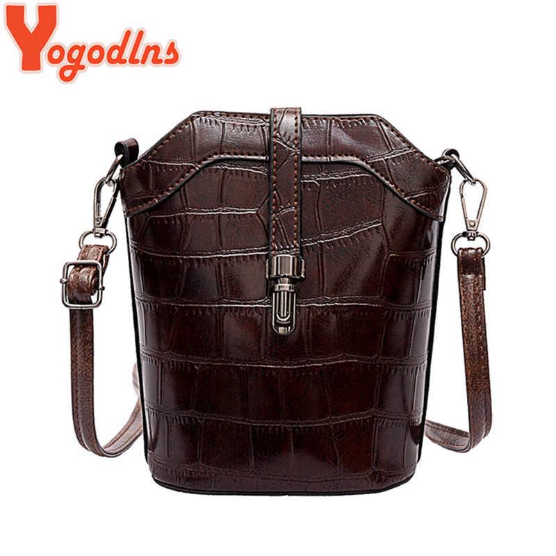 Yogodlns豪華なバケット女性ラージショルダーバッグロック付女の子イン人気のクロスボディバッグメッセンジャーバッグヴィンテージスタイルハンドバッグ財布