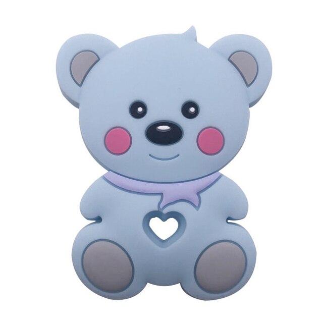 Teddy Bear Silicone Teether Blue
