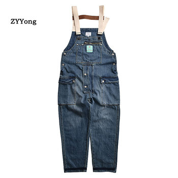 New 2020 Mens Overalls Multi Pockets Loose Denim Bib Pants Fashion Long Cargo Jeans Jumpsuits for Male Size M-XXL