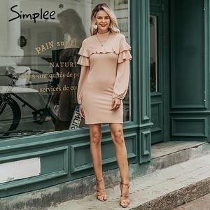 Image 4 - Simplee Elegante Ruches vrouwen jurk Coltrui lantaarn mouw vrouwelijke slim party dress Casual dames werkkleding herfst winter jurk