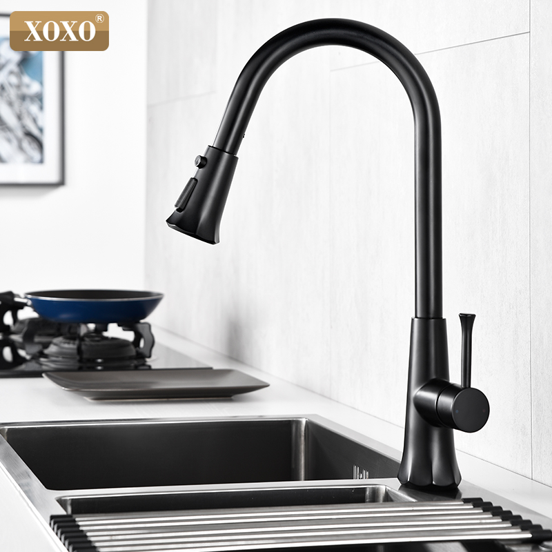XOXO Kitchen Faucet Pull Out Three Types Of Water Spout Kitchen Sink Mixer Tap With Stream Sprayer Head Black Kitchen Tap 83040