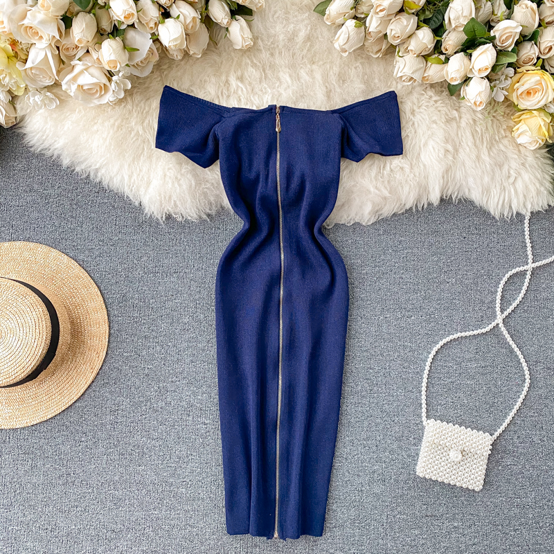 Teeuiear Vintage Zipper 2020 Sexy Slim Off Shoulder Bodycon Knitted Short Dress Summer Party Women Dress Sheath Night Club Dress