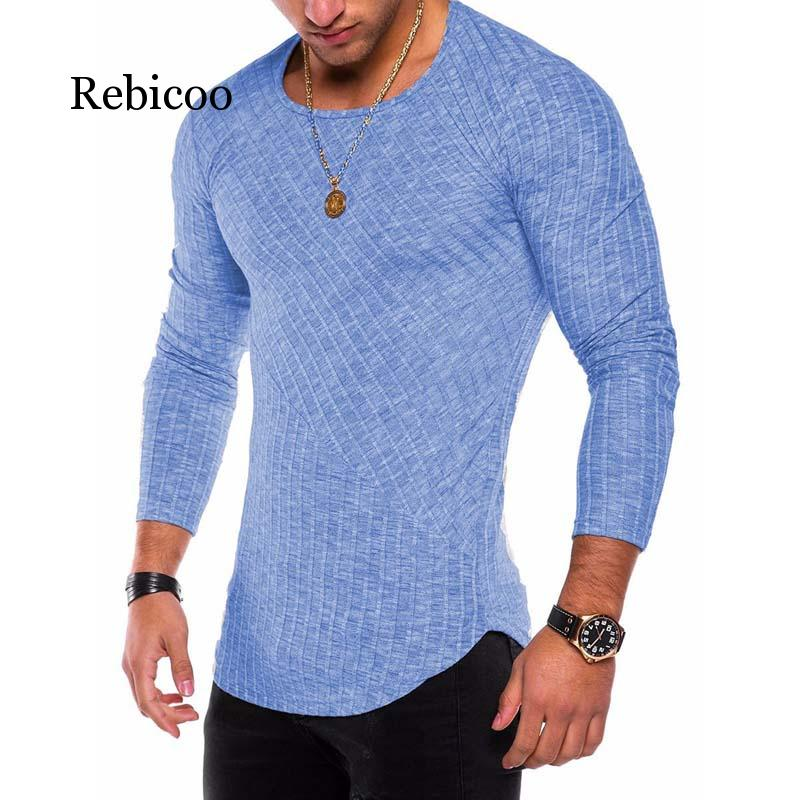 Plus Size S-3XL Slim Fit Sweater Men 2019 Spring Autumn Thin O-Neck Knitted Pullover Men Casual Solid Mens Sweaters Pull Homme