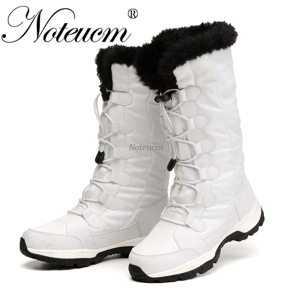 Femme female snowshoes winter warm white black lady platform flat Mid Calf snow boot with Fake
