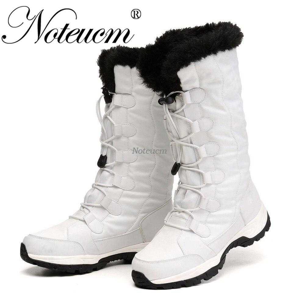 Femme Femme raquettes hiver chaud blanc noir dame plate-forme plat mi-mollet botte de neige avec fausse fourrure imperméable matelassé chaussure femmes