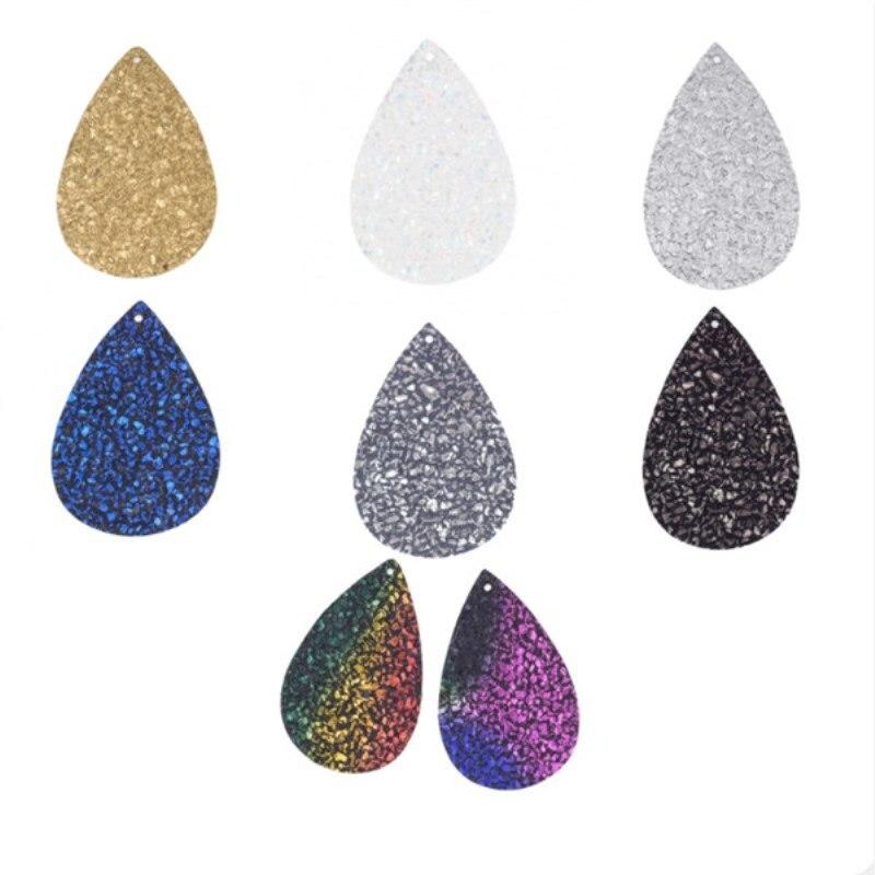 10Pcs/lot Glittering Pu Leather Shining Earrings Findings 2020 For DIY Earings Making Women Teardrop Pendant Jewelry Accessories