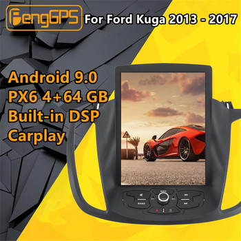 For Ford Kuga 2013 2014 - 2017 Car Multimedia Player Stereo Android PX6 Audio Radio autoradio GPS Head unit Tesla Style Screen image