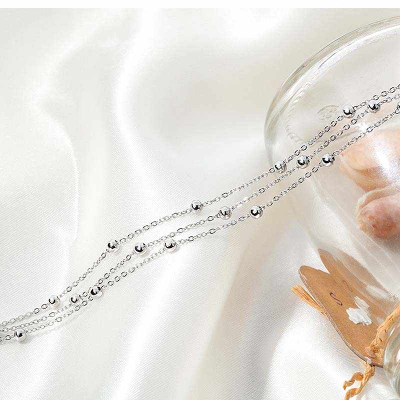 DICARLUN ステンレス鋼アンクレット女性のためのローズゴールド足首のブレスレットガールズア脚ジュエリービーズ三層チェーン