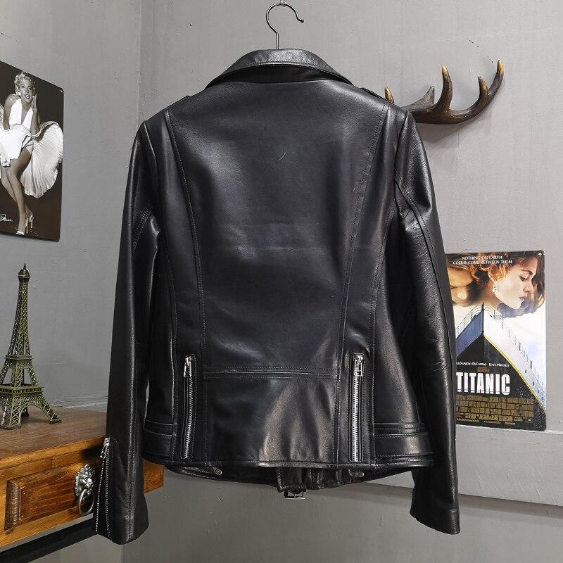 Genuine Leather Jacket Women Natural Real Sheepskin Ladies Coat Autumn Winter Motorcycle Zipper Soft Outerwear Female Plus Size