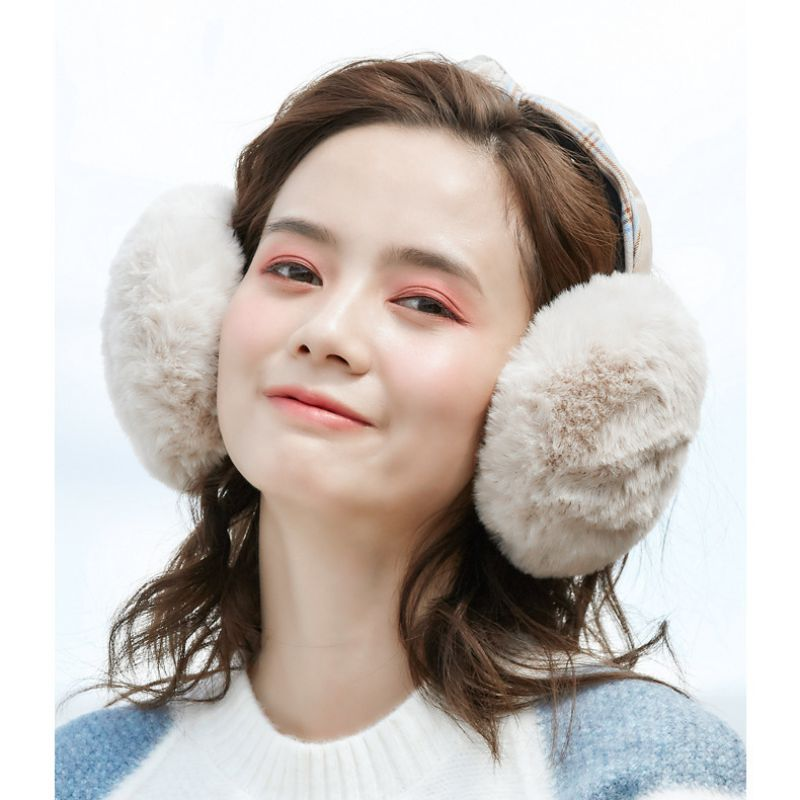 Winter Foldable Hair Band Earmuffs Warm And Windproof Cold Plaid Plush Sweet Kawaii Earmuffs