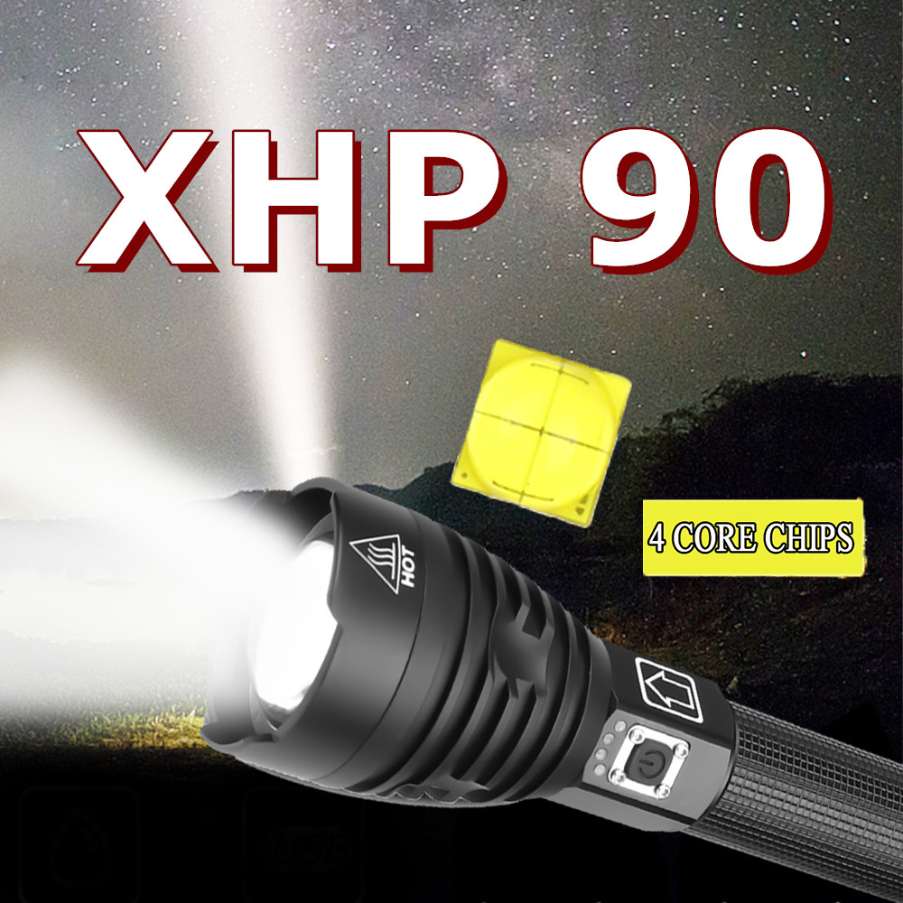 Most Powerful XHP90 LED Flashlight Brightest Zoom Torch XHP70 USB Rechargeable Lamp By 18650 26650 For Camping