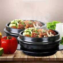 16 см черный классический корейский камень горшок кухонные наборы керамическая каменная чаша горшок для Bibimbap керамическая супа рамен миски для риса
