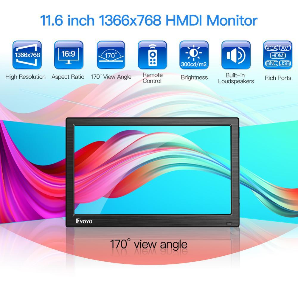 "Eyoyo EM12D 12"" IPS PC TV Monitor LCD Screen HD 1366x768 With HDMI BNC VGA AV USB For Computer Raspberry CCTV Security Display"