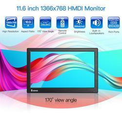 Eyoyo EM12D 12 IPS PC TV Monitor LCD pantalla HD 1366x768 con HDMI BNC USB VGA AV para ordenador Raspberry CCTV DE SEGURIDAD DE