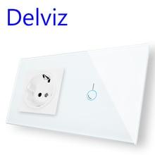 Delviz האיחוד האירופי סטנדרטי קיר מתג שקע, 1 כנופיות 1Way/2Way,AC 110 ~ 240V, חשמל שקע, בית מסך מגע אור מתג, קריסטל זכוכית פנל