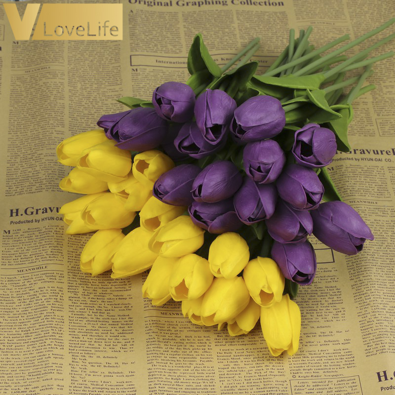 10pcs Artificial Tulip Flowers Mini tulip Flowers Real Wedding Flowers For Wedding Banquet Bridal Bouquet Home Garen Decoration 3