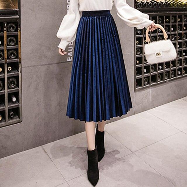 Autumn Winter Velvet Skirt High Waisted Skinny Large Swing Long Pleated Skirts Metallic Plus Size 3XL Midi Saia 6
