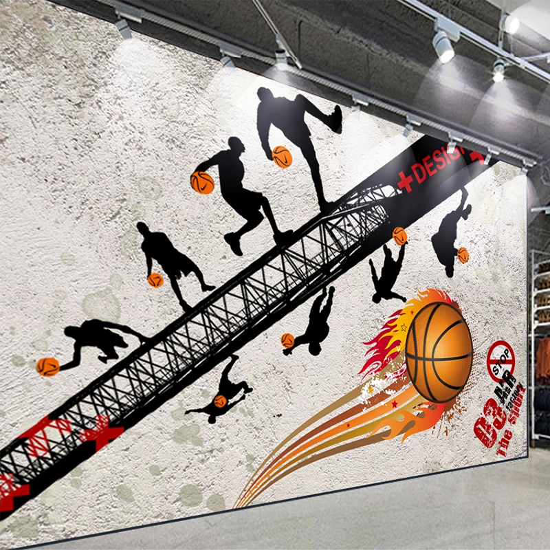 Custom 3D Wallpaper Retro Nostalgia Sports Fitness Basketball Gym Backround Wall Covering Creative Cement Wall Papel De Parede