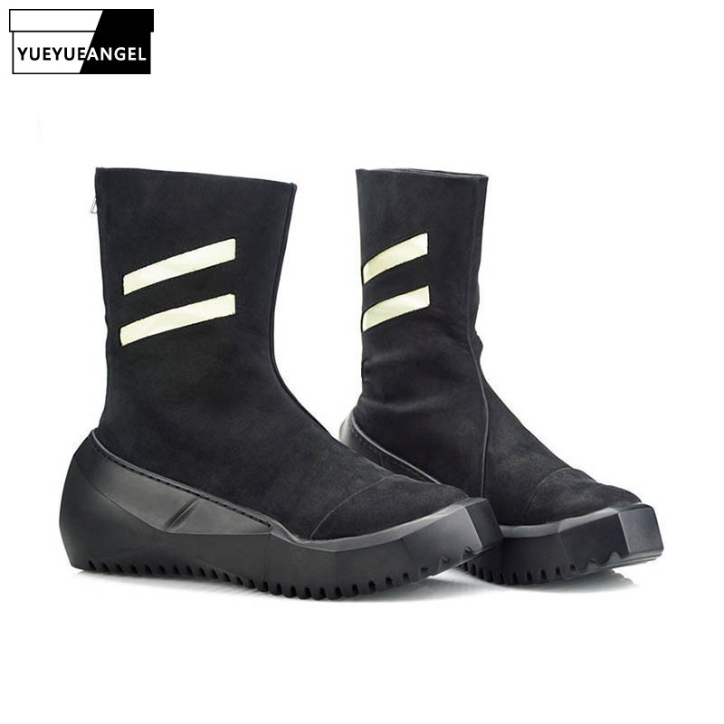 Italian 2020 New Genuine Leather Men Mid Calf Boots Personality Thick Platform 2020 New Man Footwear High Top Punk Shoes