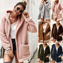 2019 Autumn New Loose Fit Fuzzy Sweater Long Cardigan Plush Coat Open Front Female Tops Kahki Winter Clothes Open Stitch Hoodie pearl beading open front sweater coat