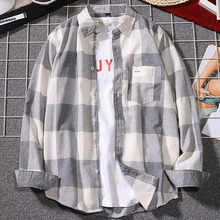 Men Shirt 2019 New Arrival Spring And Autumn Black Gray Plaid Long Sleeve Male Student Japanese Style Teenage Boy S12