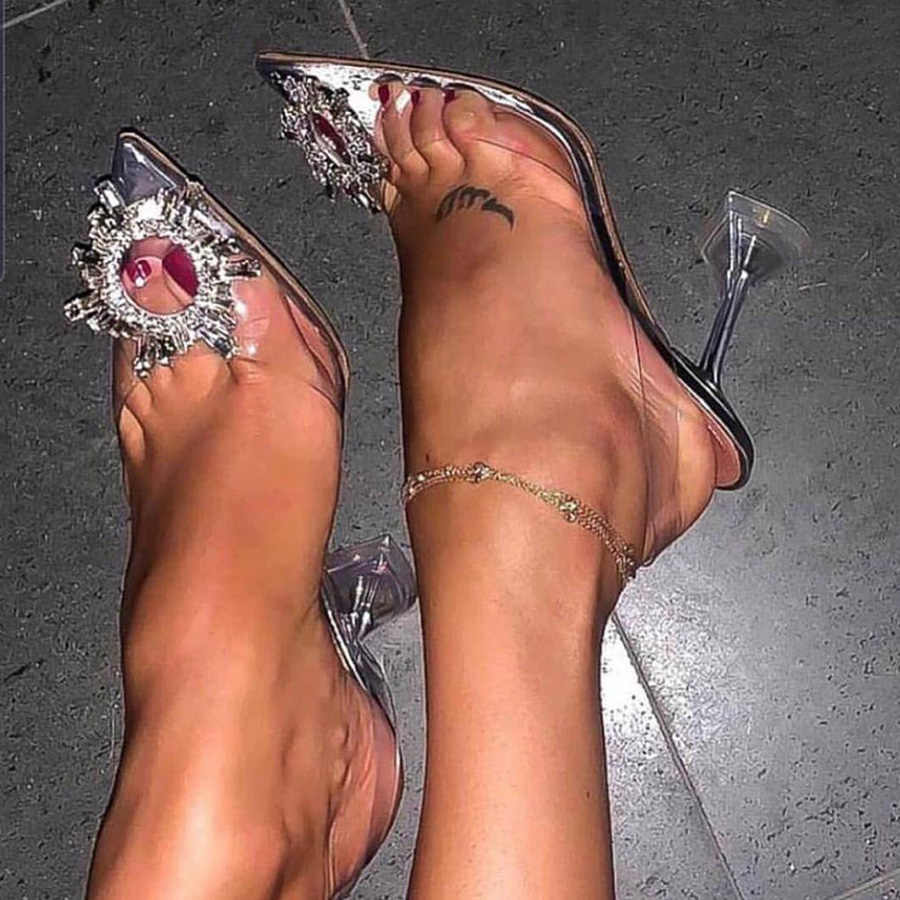 Lüks kadın pompaları 2019 şeffaf yüksek topuklar seksi sivri burun Slip-on düğün parti marka moda ayakkabılar bayan boyutu için 34-41