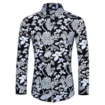 Blouse Mens dress Shirts Flower Hawaiian Casual Shirt Men's Clothing Camisa social Long sleeve Plus size White Black new model shirts stand collar white black camisa social mens shirt unique golden design blouse mens clothing slim fit