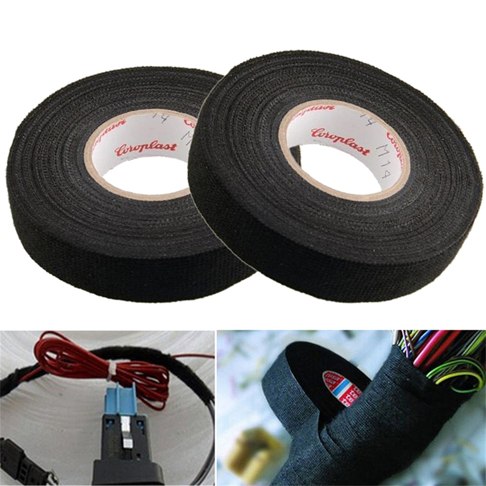 1Roll 19mm x 15M 15mx9mm Wiring Harness Tape Harness Wiring Loom Strong Adhesive Cloth Fabric Tape For Looms Cars Black Color