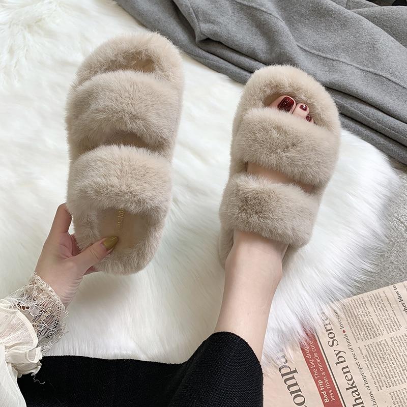 Fuzzy Slippers 2019 Faux Fur Fashion