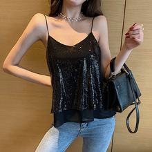2019 New Sequins Embroidered Mesh Vests For Women Fashion Net Star Same Brand Small Slings Explosion Personality Sexy Lady Tops