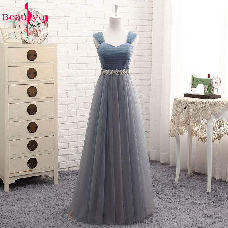 Beauty-Emily Hot Tulle V Neck Evening Dresses Long For Women 2020 Elegant Formal Party Dress A-line Prom Gown Plus size Vestido 5