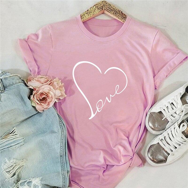 Plus Size S-5XL New Love Heart Print T Shirt Women Shirts 100%Cotton O Neck Short Sleeve Summer TShirt Tops Funny T Shirts(China)