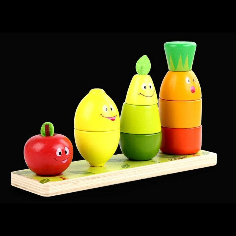 Free Shipping Wood Fruit Intellectual Building Blocks Enlighten Children's Toys, Fruit Pile Tower, Cartoon Fruit Puppet Baby Toy