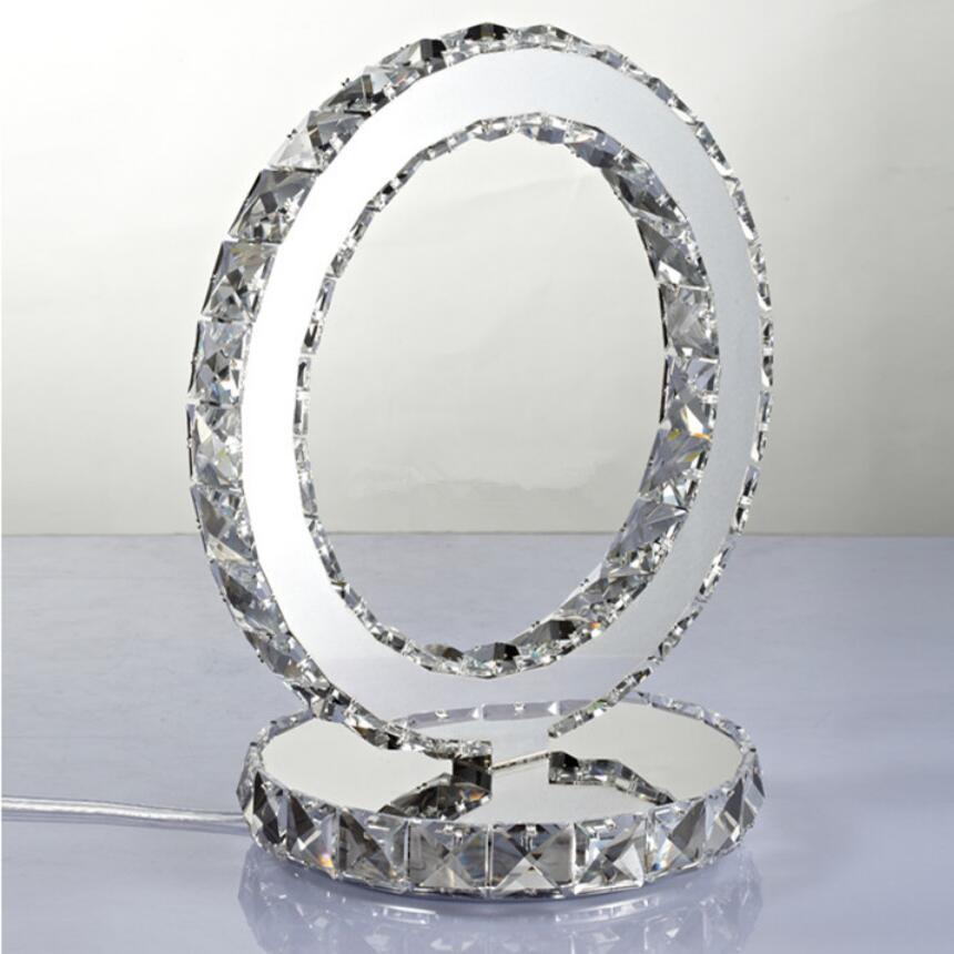 โมเดิร์น K9 คริสตัลตารางโคมไฟข้างเตียงห้องนั่งเล่นตกแต่งรอบโคมไฟตั้งโต๊ะของขวัญสีขาว