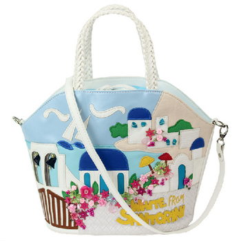 Women Shoulder Bags Leather Patchwork Embroidery Messenger Bag Handbags Totes Braccialini Brand Style Cartoon Aegean Sea