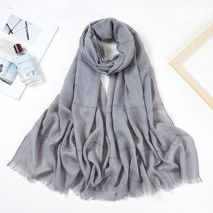 Image 4 - Fashionable Viscose Cotton Muslim Hijab Scarf Women Headband Glitter Stripe Fringe Long Shawl Arab Pashmina Islamic Head Scarf