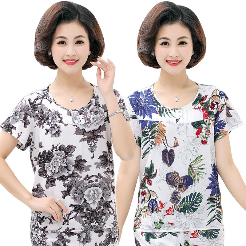 Middle-aged Cotton Silk Tops Pajamas Women's Summer One-Piece Tracksuit Large Size Artificial Cotton Short Sleeve T-shirt Mom