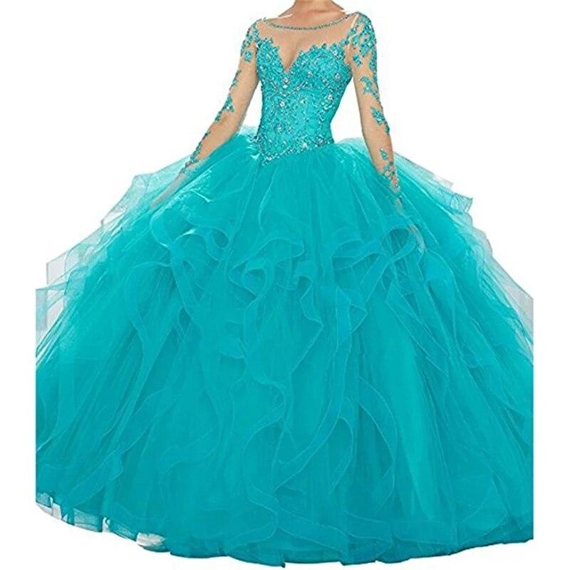 BM Long Sleeve Vestidos De 15 Anos Quinceanera Dresses Pink Prom Gowns Quinceanera Dresses Ball Gown Sweet 16 Prom Gown BM394