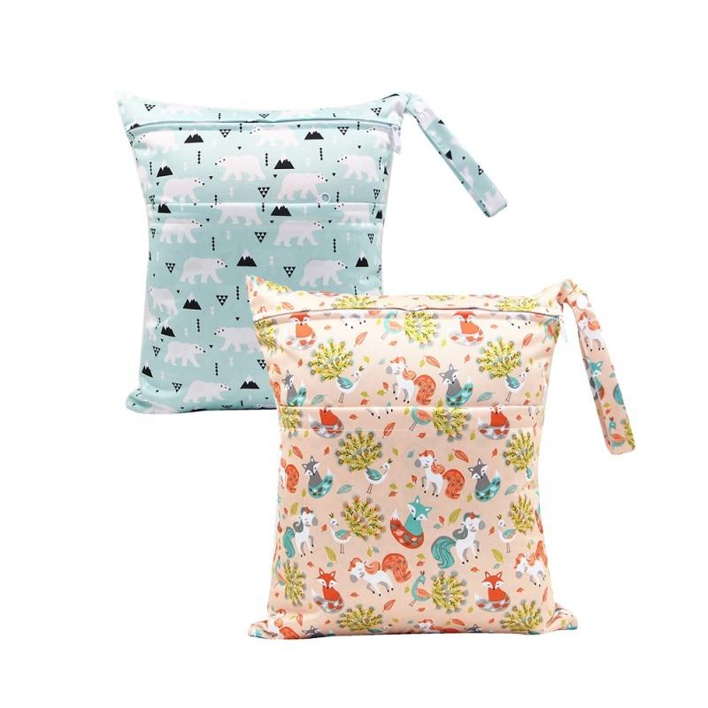 2PCS/lot Baby Cloth Diaper Bag Waterproof Reusable Baby Diaper Mummy Bag Pocket Wet Cloth Bag Wholesale 36 * 30CM