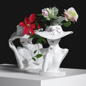 Jarrón de diosa, estatua, arreglo de flores, ramo, decoración de la sala de estar, maceta para esculpir la cara, decoración del hogar, artesanías, jardineras de personajes
