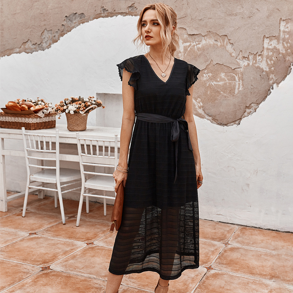 Robe Black White Lace Cocktail Dresses Ever Pretty Elegant A Line V Neck Maxi Dresses Woman Party Night Summer Beach Wear 2020