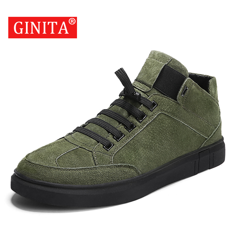 2019 Men's Genuine Leather Casual Shoes Autumn Fashion High Cut Outdoor Shoes For Men