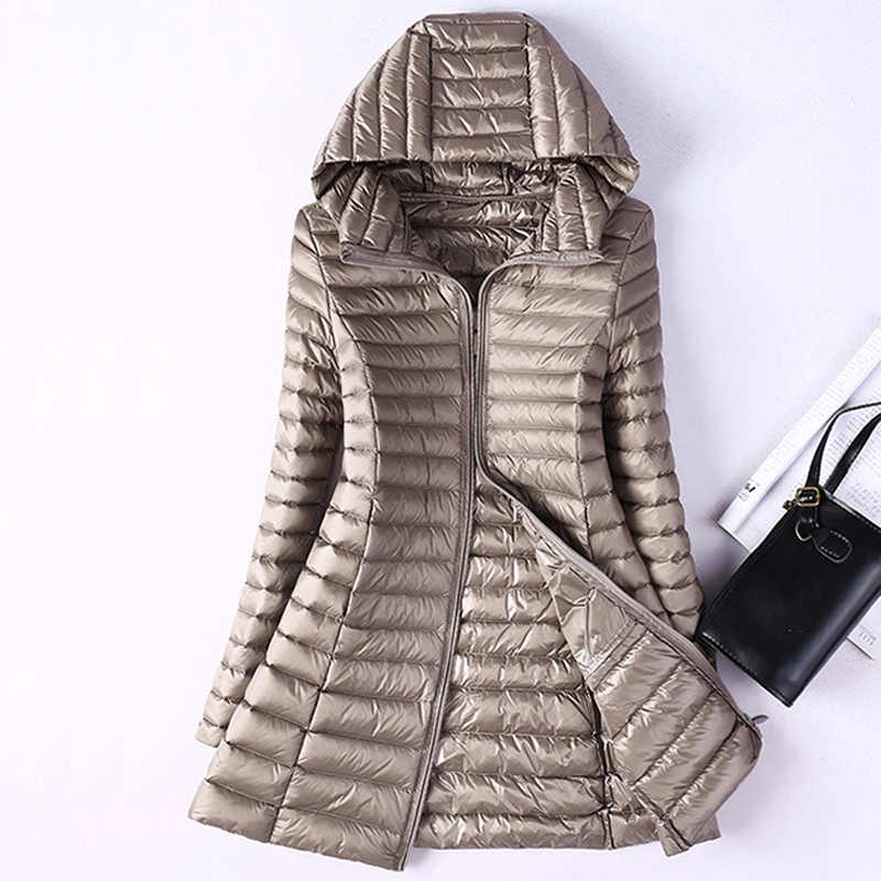 Winter Ultralight Duck Down Jassen Vrouwen Plus Size Lange Down Doat Vrouwelijke Hooded Puffer Jas Draagbare Waterdichte Gewatteerde Parka