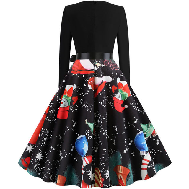 11 Color Vintage Dress Women Plus Size 3XL Sexy V-Neck Long Sleeve Christmas платье Bow Musical Note Print Flare Dress Wholesale 31