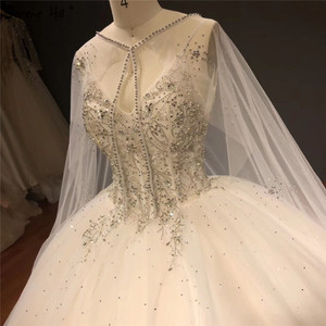 Image 3 - Белое блестящее свадебное платье без рукавов с накидкой, высококачественные Соблазнительные Свадебные платья со стразами и бисером, HA2272, изготовление на заказ